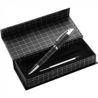 Металлическая ручка с дополнительным черным стержнем под Ваш логотип