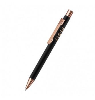 UMA STRAIGHT RO GO GUM, металлическая шариковая ручка с глянцевой розово-золотой отделкой