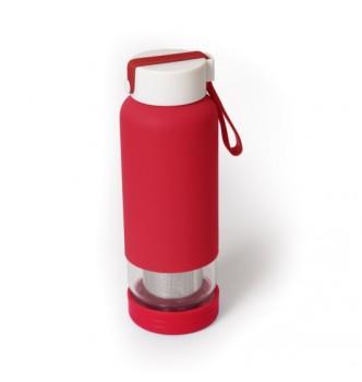 Бутылочка-заварник INTEGRUM стеклянная с покрытием soft-touch, ситечком и силиконовым ремешком, 450 мл