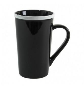 Керамическая чашка черная ERMINA c цветным ободком, 450 мл с Вашим логотипом