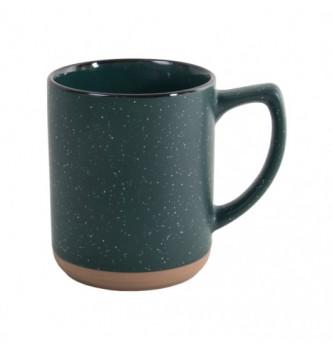 Чашка керамическая SAHARA матовая внешне и глянцевая цветная с черным ободком, 320 мл, с Вашим логотипом