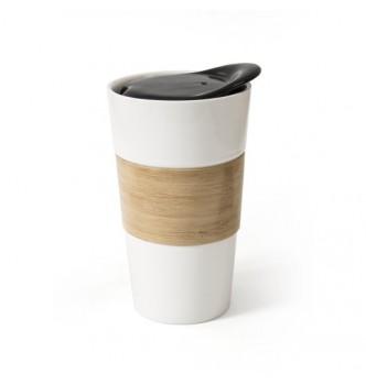 Чашка фарфоровая NARINA 450 мл с керамической крышкой и бамбуковой вставкой
