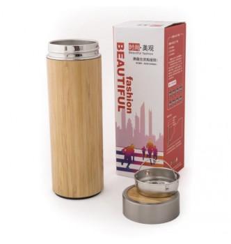 Термос металлический LIGNUM с бамбуковым покрытием и ситечком, 500 мл
