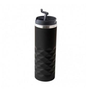 Термочашка черная матовая TORINO LUX с металлическим ободком, 450 мл под гравировку