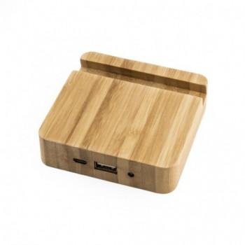 Зарядное устройство - подставка BAMBUS на 4000 mAh, бамбук, задняя крышка металл с Вашим логотипом