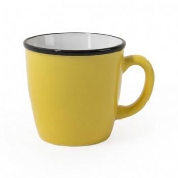 Чашка керамическая REGINA с черным ободком, 340 мл с Вашим логотипом