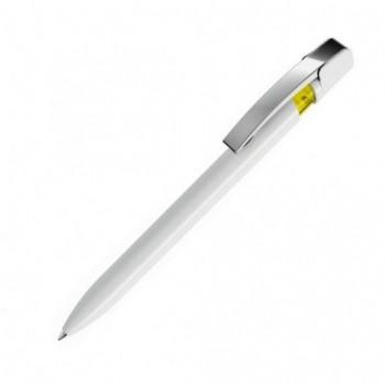 Ручка шариковая UMA Sky M в глянцевом корпусе с прозрачной цветной вставкой и металлическим хромированным клипом с возможностью нанесения на ней Вашего логотипа