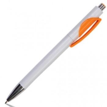 Ручка шариковая пластиковая белая NELLA с цветным клипом