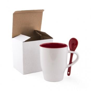 Чашка керамическая MODENA 330 мл с ложечкой в индивидуальной упаковке